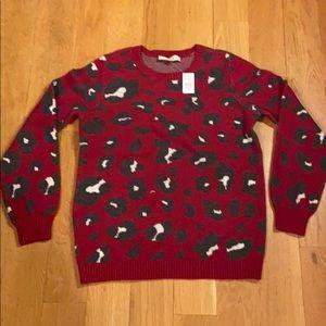 Loft Leopard Jacquard Sweater  NWT Sz M